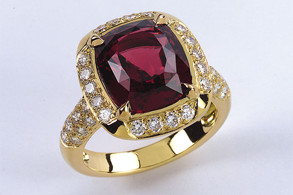 bague rhodolite diamants or jaune